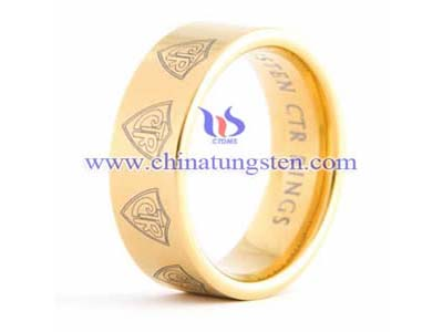 Tungsten Scan Gold Ring Picture